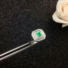 Настоящее серебро 925 пробы натуральный зеленый изумруд кольца
