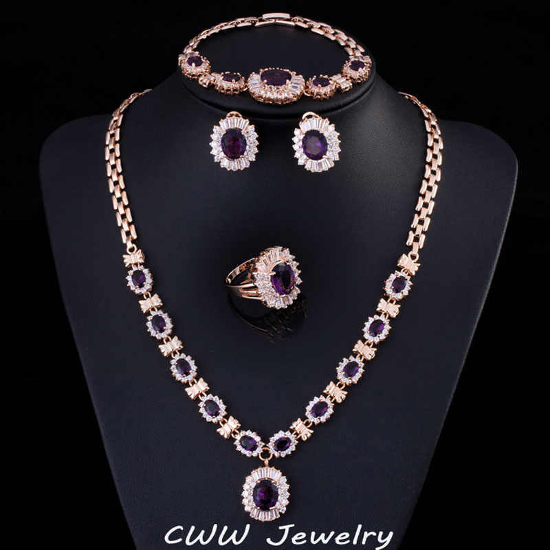 4 Piece Luxury Light Yellow Gold Color Indian Wedding Party Jewelry Sets Purple Cubic Zirconia Bridal Accessories For Women T230