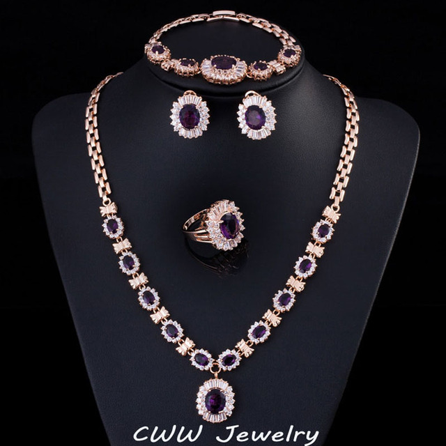 4 Piece Luxury Light Yellow Gold Color Indian Wedding Party Jewelry Sets Purple Cubic Zirconia Bridal