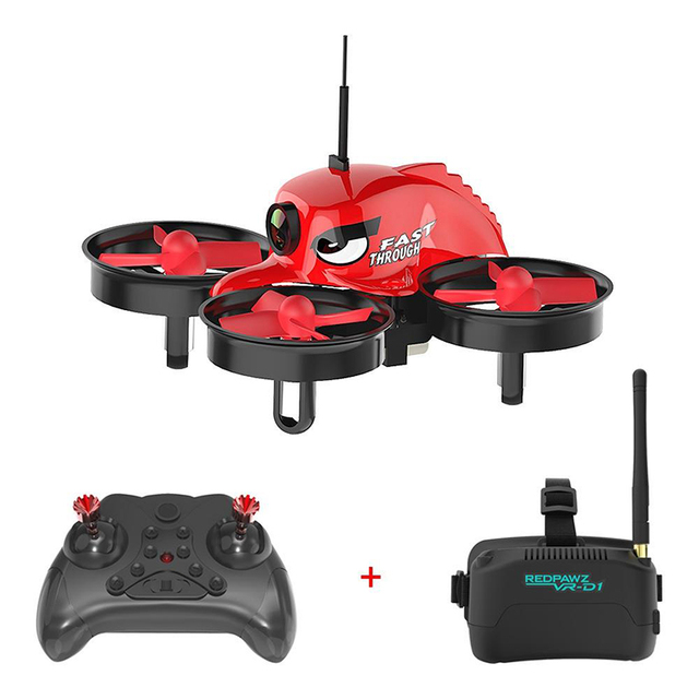 IN Stock Redpawz R011 Micro FPV Racing RC Helicopters with 1000TVL FOV Wide-angle Camera 3 Inch VR- D1 Goggles Goggles RTF