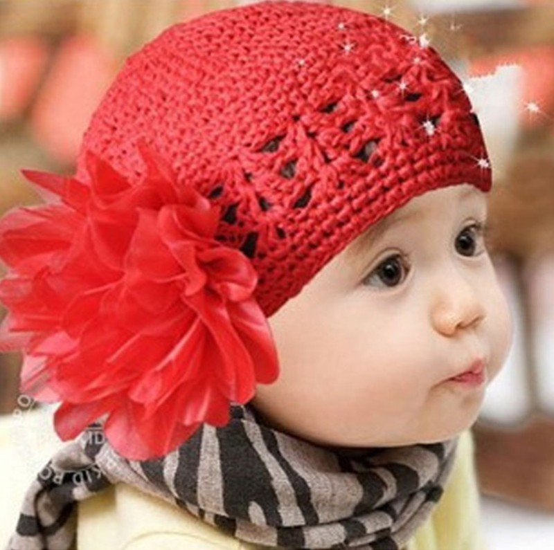 2016 New Cute Baby Girl Caps Winter Knitting Wool Beanie Hat Infant Flower Apparel Accessories