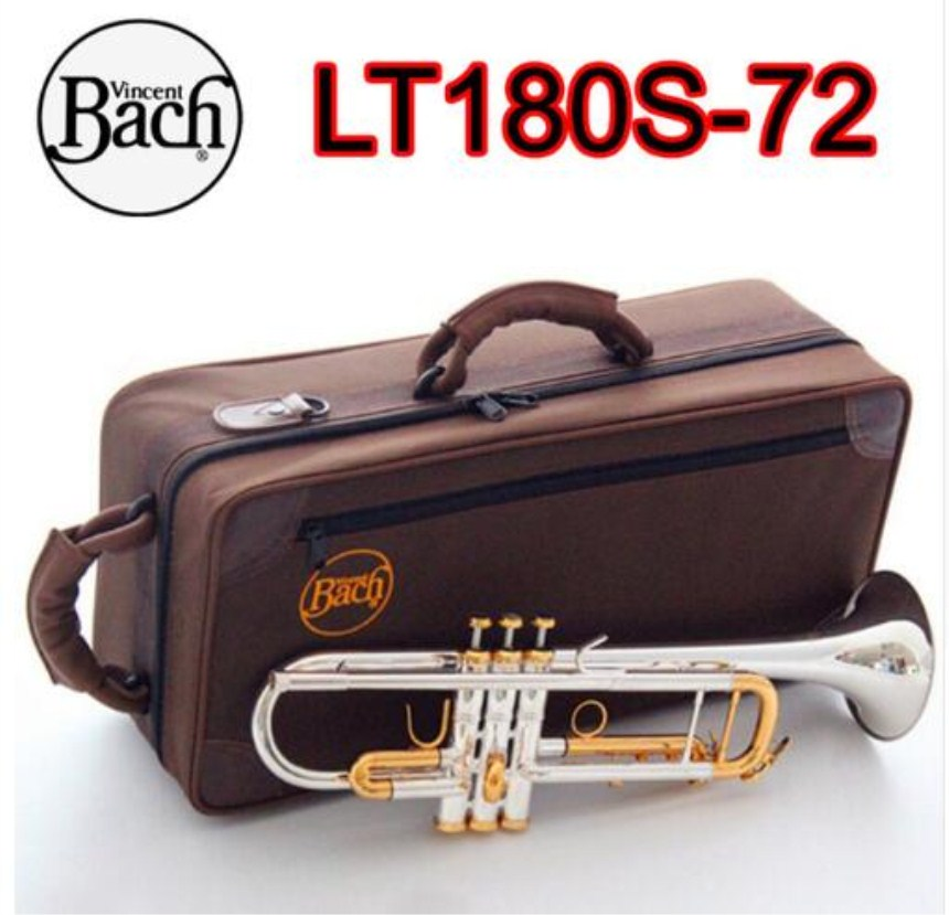 Logical High Quality Bach Trumpet Lt180s-72 Plated Silver Gold Key Bb Music Instrument With Case Professional Free Shipping Mild And Mellow Trumpet Musical Instruments