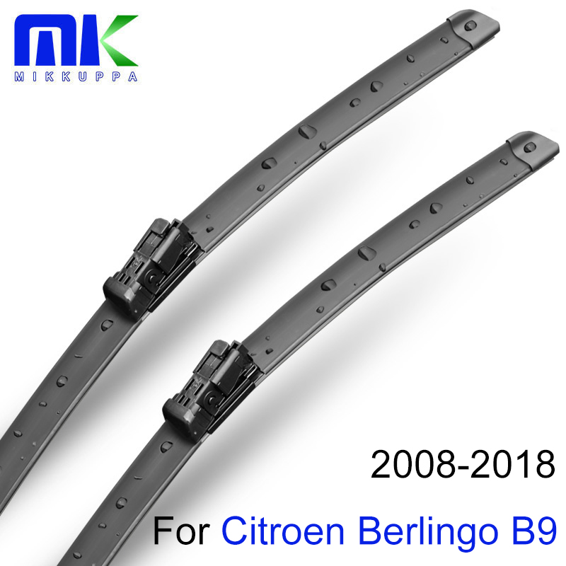 Mikkuppa Front And Rear Wiper Blades For <font><b>Citroen</b></font> <font><b>Berlingo</b></font> B9 <font><b>2008</b></font>-2018 Windscreen Natural Rubber Windshield Auto Car Accessories image