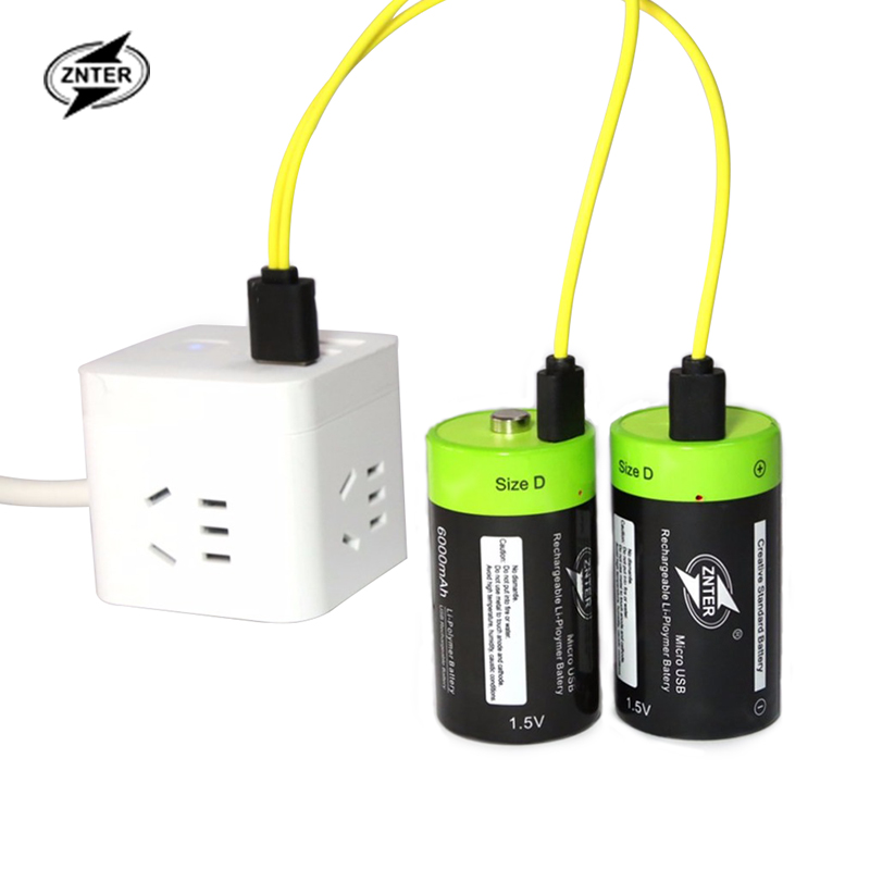 ZNTER 1.5V 4000mAh Battery Micro USB Rechargeable Batteries D Lipo LR20 Battery For RC Camera Drone Accessories