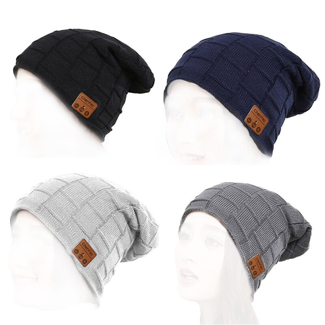 Mens Womens Outdoor Bluetooth 4.2 Music Beanie Hat with Stereo Speaker Headphones Headset Microphone Hands Free Smart Music Hat