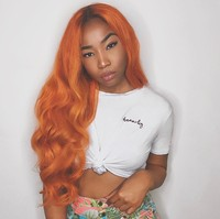 Sunnymay Orange Color Full Lace Human Hair Wigs Brazilian Virign Hair Pre Plucked 4/orange Full Lace Wig With Brown Root