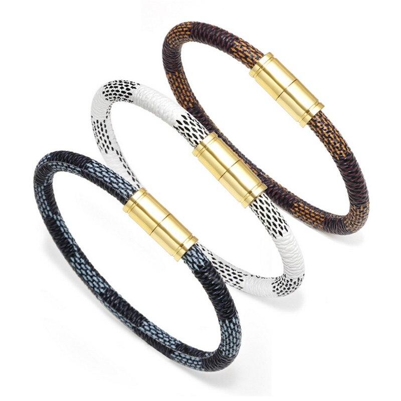 Charm Stripe Leather Bracelet Men Gold Magnet Bracelets&Bangles Jewelry Real Cowhide Rope Bracelet for Women Trendy Armband Gift diamond bracelet men leather