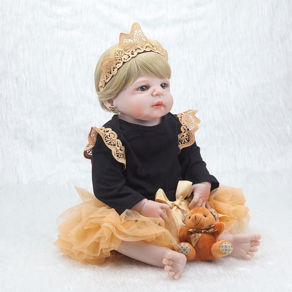 새로운 55 cm 연약한 몸 실리콘 reborn 아기 인형 소녀를위한 신생아 아기 생일 선물 아이 취침 시간 bebe 장난감 bonecas reborn-에서인형부터 완구 & 취미 의  그룹 3