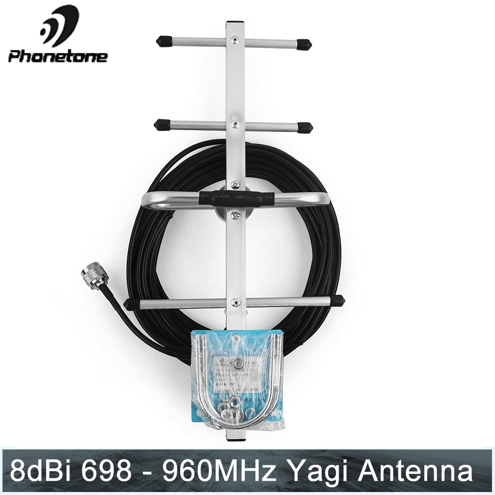 8dBi Outdoor Yagi Antenna 2G 3G LTE 700/800/850/900MHz Directional for Cell Signal Booster Amplifier with 10m Black Cable N Male