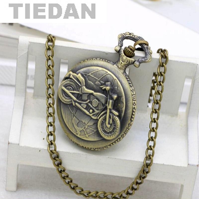 Bronz Motosiklet Motosiklet Pocket Watch Saatler Kadınlar Moda İzle - Cep Saatleri - Fotoğraf 1