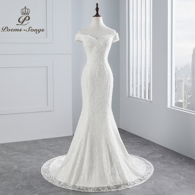 PoemsSongs real photo 2019 new style boat neck beautiful lace wedding dress for wedding Vestido de noiva Mermaid wedding dress 1