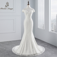 PoemsSongs real photo 2019 new style boat neck beautiful lace wedding dress for wedding Vestido de noiva Mermaid wedding dress