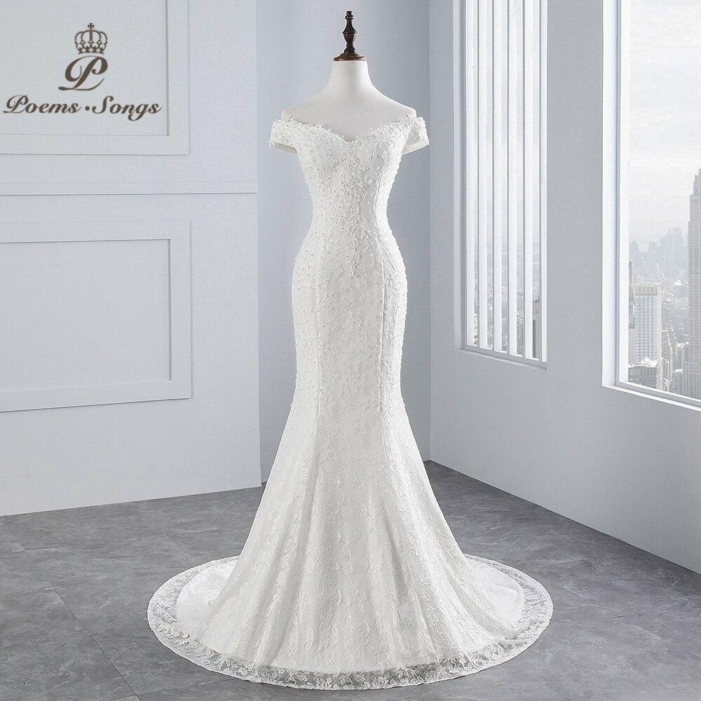 PoemsSongs photo réelle 2019 nouveau style bateau cou belle robe de mariée en dentelle pour robe de mariée de noiva robe de mariée sirène