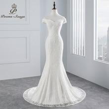 PoemsSongs réel photo nouveau style bateau cou belle dentelle robe de mariée 2020 pour mariage Vestido de noiva sirène robe de mariée