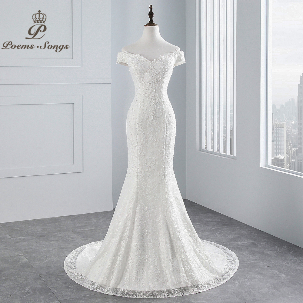 Us 775 50 Offpoemssongs Real Photo 2019 New Style Boat Neck Beautiful Lace Wedding Dress For Wedding Vestido De Noiva Mermaid Wedding Dress In