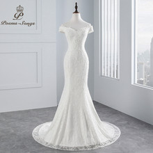 PoemsSongs real photo 2019 new style boat neck beautiful lace wedding dress for wedding Vestido de noiva Mermaid wedding dress(China)