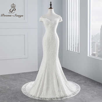 PoemsSongs real photo 2019 new style boat neck beautiful lace wedding dress for wedding Vestido de noiva Mermaid wedding dress - DISCOUNT ITEM  50% OFF All Category