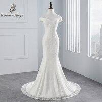 PoemsSongs real photo 2019 new style boat neck beautiful lace wedding dress for wedding Vestido de noiva Mermaid wedding dress