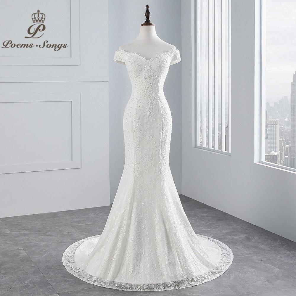 PoemsSongs Real Photo New Style Boat Neck Beautiful Lace Wedding Dress 2020 For Wedding Vestido De Noiva Mermaid Wedding Dress