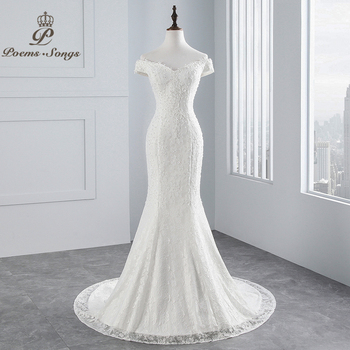 PoemsSongs real photo new style boat neck beautiful lace wedding dress 2020 for Vestido de noiva Mermaid - discount item  55% OFF Wedding Dresses