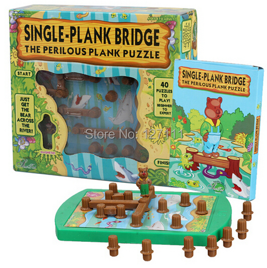 Kids Puzzle Game Winnie Cross River Bridge   Logical Thinking  Maze Task Intellectual Toys  40 Quesions Brinquedos Meninos