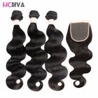 HCDIVA Brazilian Hair Body Weave 3 Bundles With Closure Free Part Non Remy Human Hair Bundles