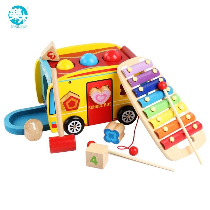 Bois de campêche En Bois jouet Classique Jouets marqueur De Bruit Musical combinaison jouet autobus Scolaire Jeu de table Cadeaux pour Enfants
