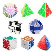 8 pcs/ensemble Shengshou Blanc Irrégulière Étrange-forme Cube Magique Ensemble Vitesse Twist Puzzle Bundle Pack Cube Autocollants Cubo Magie Puzzle