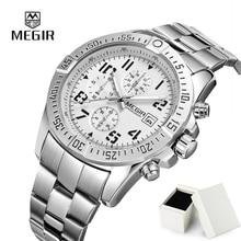 Мужчины Смотреть MEGIR Моды Кварцевые Часы Хронограф Топ Люксового Бренда Мужчины Часы Часы Календарь Водонепроницаемый Relogio Masculino 2030
