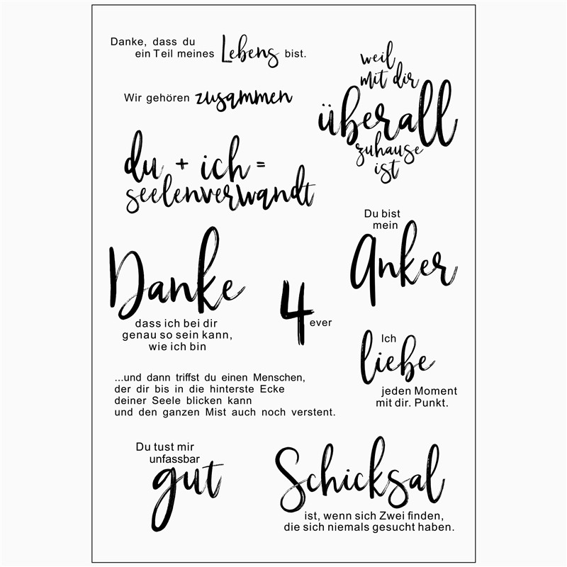 German text Decorative Handmade Practical Clear Stamp for
