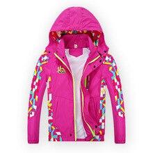 2017 Spring Children Girls Jacket Outerwear Double-Deck Waterproof Windproof Hooded Coats For Girl 4-15Y Kids Sport windbreaker