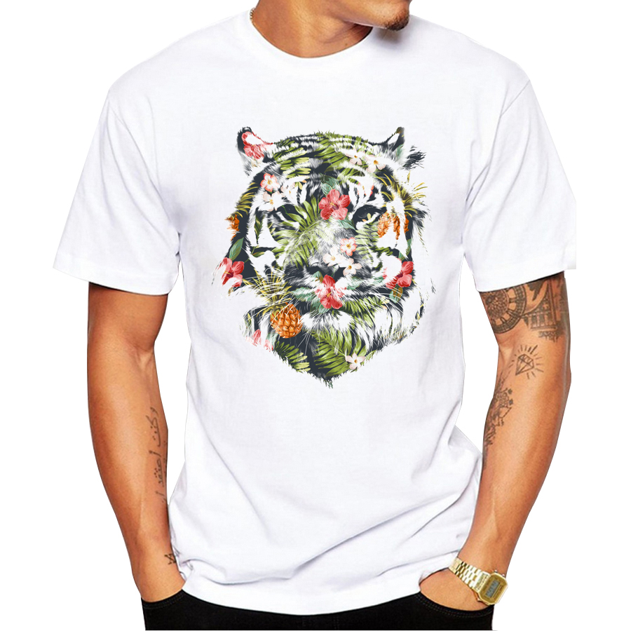 Design t shirt brand - 2017 Newest Fashion Printed Tropical Tiger Design T Shirt Fashion Men S Hipster Fitness T Shirts Summer Brand Clothing Tops Tees