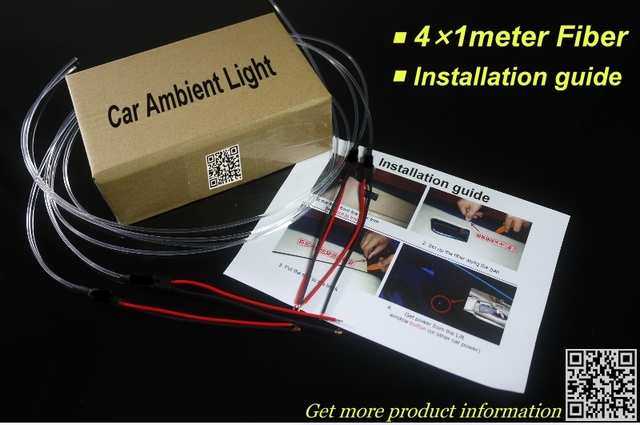 interior Ambient Light Tuning Atmosphere Fiber Optic Band Lights For Chrysler 200 For Lancia Flavia Door Panel illumination 6