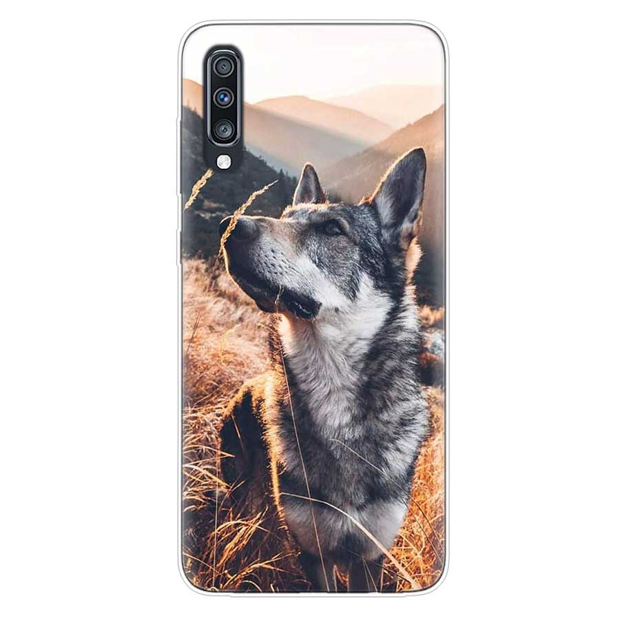 Uyellow Cute Husky Dog Case For Samsung A10 A20 A30 A40 A50 A60 A70 A80 A90 A20E Cover For Galaxy M10 M20 M30 M40 Soft Coque in Fitted Cases from Cellphones Telecommunications