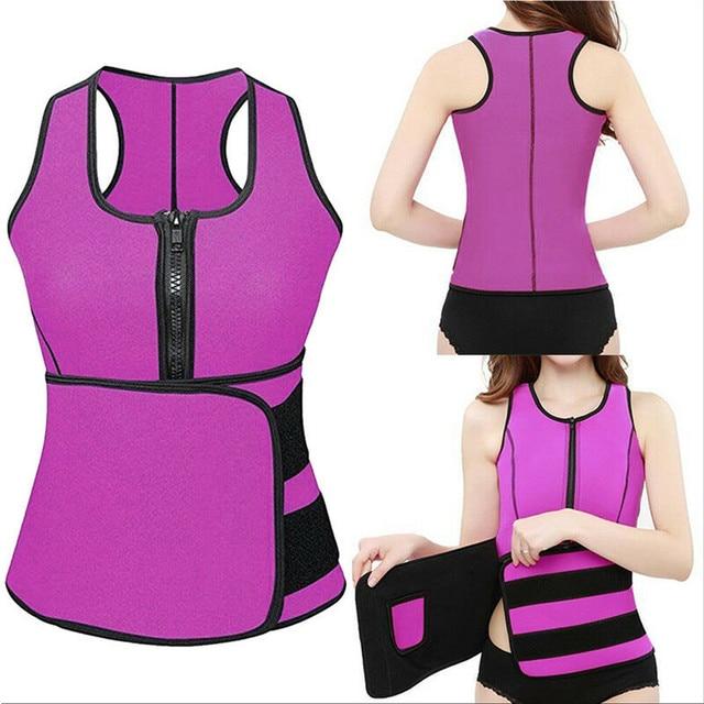 Women Sauna Waist Trainer Vest Gym Adjustable Slimming Sweat Belt Workout Zipper Body Shaper Sexy Shaper Workout Vest 2019 New 2
