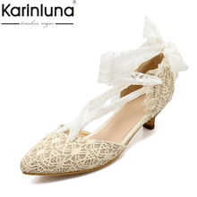karinluna large size 34-43 pointed toe lace upper women shoes woman elegant comfotable spring wedding sandals woman(China)