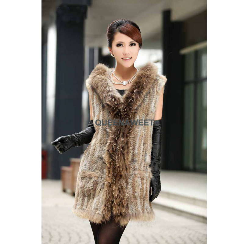 100% Real Knitted Rabbit Fur Long Vest Gilet With Raccoon Fur Collar Hooded Waistcoat