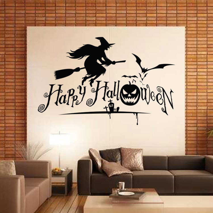 aw9427 creative cartoon halloween witch broom bat living room wall diy removable vinyl wall stickers tv wall sofa background in wall stickers from home