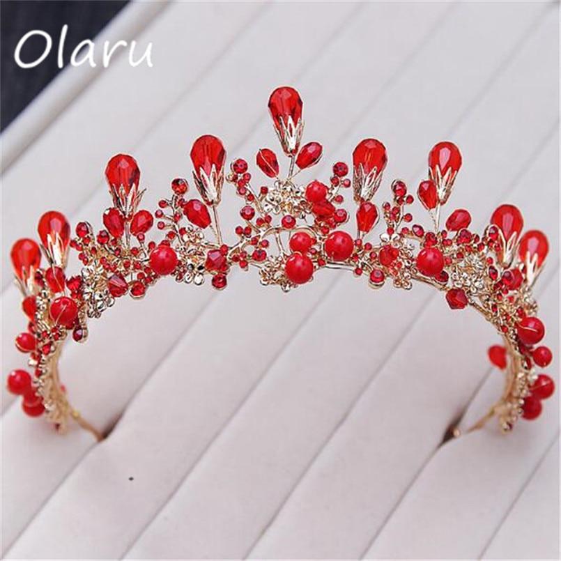 Olaru Good Quality Red Crystal Creative Crown Tiara For Bride Fashion Extendy Wedding Jewelry Queen Crown Headband Hair Wear Hot