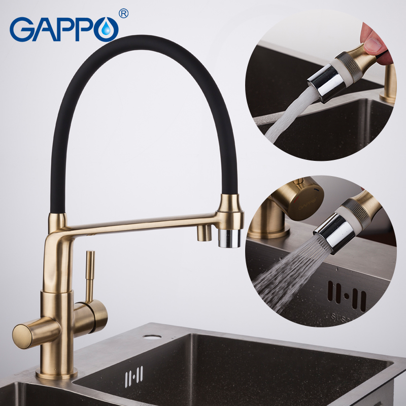 цена на GAPPO gold kitchen faucet with filtered water kitchen mixer tap brass water sink crane water filter tap torneira cozinha