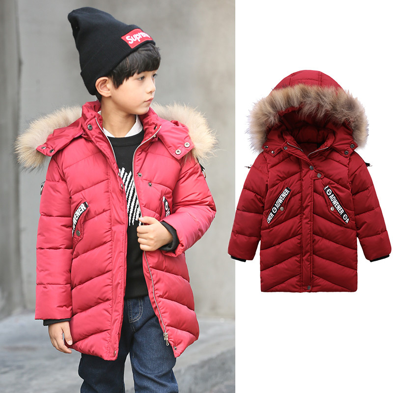 Baby Boys Parka Winter Coat Kids Jacket 2017 Joker Thick Braid Fur Collar Hooded Warm Outerwear Children Cotton-padded Clothes bat wing sleeves casual style acrylic solid color v neck sweater for women