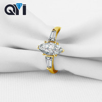 QYI Marquise Cut Three Stone engagement Rings Sona Simulated Diamond 14K Solid Yellow Gold Wedding Rings for Woman