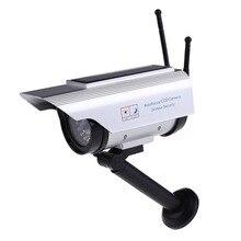 LED 붉은 빛 깜박이 태양 전원 + 배터리 전원 더미 야외 보안 홈 CCTV 총알 높은 시뮬레이션 가짜 카메라