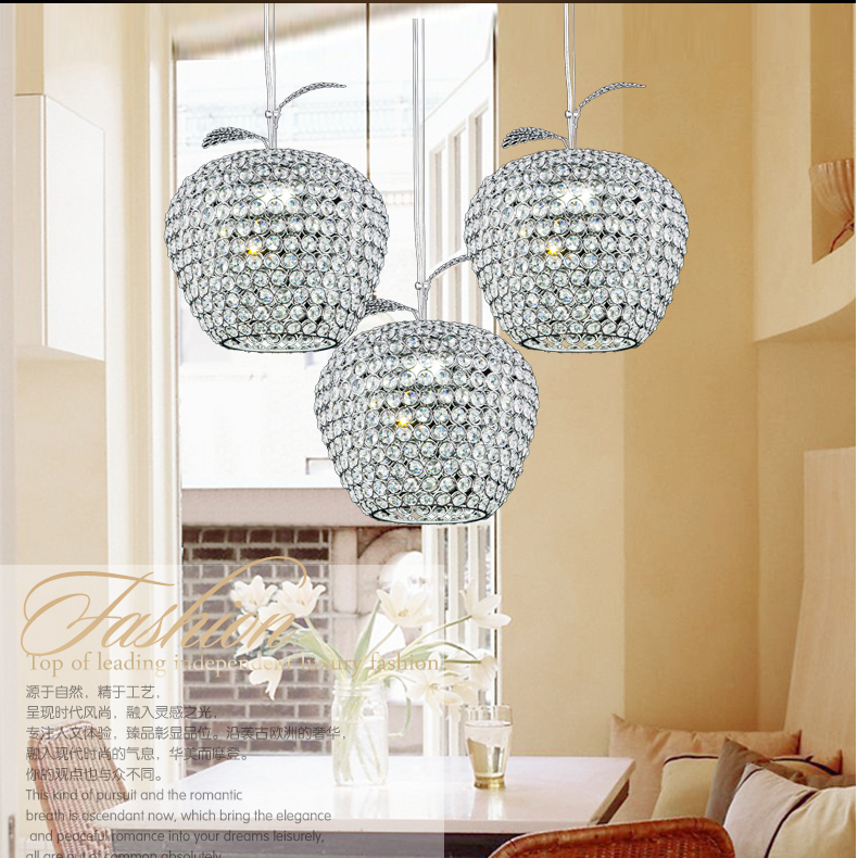 New Creative Crystal Apple Pendant Lamp Gold Lampshade abajur Restaurant Hanglamp Light E27 font b Home