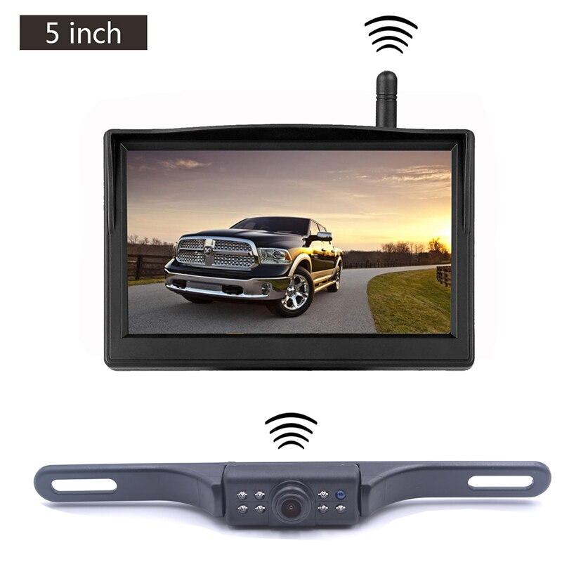Moniteur LCD de véhicule de 5 pouces avec caméra sans fil de rétroviseur de voiture pour l'affichage d'inversion de stationnement de voiture DC12-24V caméra de Vision nocturne IR