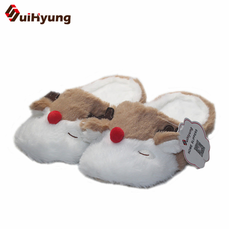 Suihyung Women Winter Warm Home Slippers Indoor Shoes Cute Elk Shape Soft Bottom Bedroom Floor Slippers Plush Female Flat Shoes warm at home women slippers cotton shoes plush female floor shoes candy color soft bottom fleece indoor shoes woman home slippe