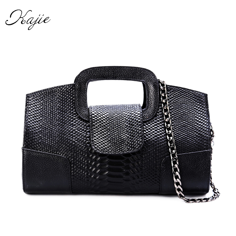 Kajie 2018 Genuine Leather Chain Bag Black Gold Silver Small Party Wedding Day Clutch Bag With Handle Lady Luxury Shoulder Bag niko black 21 23 26 ukulele bag silver edge nylon soprano concert tenor soft case gig bag 5mm thick sponge
