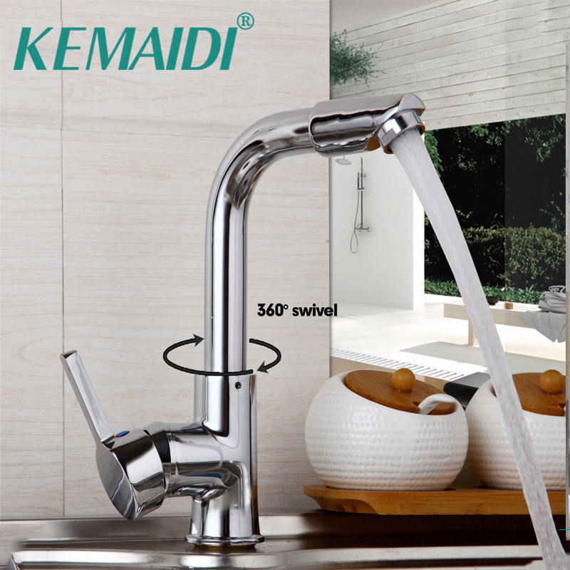 KEMAIDI US Kitchen Faucets Basin Tap Mixer Swivel Faucet Bathroom Sink Faucet Hot And Cold Taps Deck Mounted Single Hand deck mounted automatic hot cold mixer faucet hand touch tap single handle battery power free sensor faucet bathroom sink taps