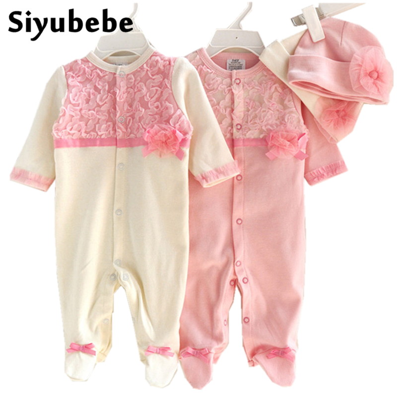 Newborn Baby Girl Clothes Girls Lace Floral Rompers + Hats Princess Style Baby Clothing Sets 100% Cotton Infant Bebe Jumpsuit