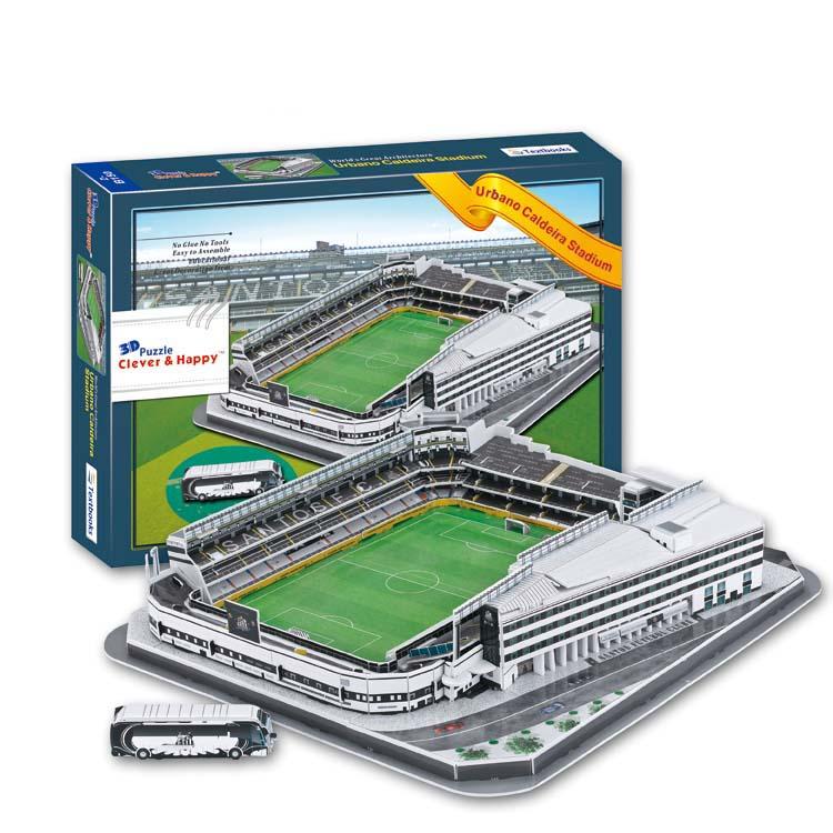купить Candice guo 3D puzzle DIY toy paper building model Sport Estadio Urbano Caldeira Stadium football soccer assemble game gift 1set по цене 2174.56 рублей